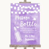 Lilac Watercolour Lights Message In A Bottle Customised Wedding Sign