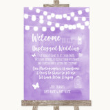 Lilac Watercolour Lights No Phone Camera Unplugged Customised Wedding Sign