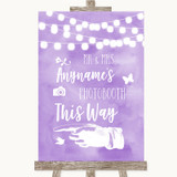 Lilac Watercolour Lights Photobooth This Way Left Customised Wedding Sign