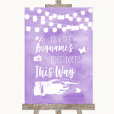 Lilac Watercolour Lights Photobooth This Way Right Customised Wedding Sign