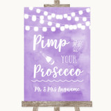 Lilac Watercolour Lights Pimp Your Prosecco Customised Wedding Sign