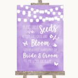 Lilac Watercolour Lights Plant Seeds Favours Customised Wedding Sign