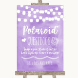 Lilac Watercolour Lights Polaroid Guestbook Customised Wedding Sign