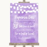 Lilac Watercolour Lights Popcorn Bar Customised Wedding Sign
