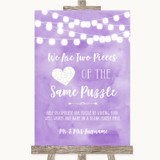 Lilac Watercolour Lights Puzzle Piece Guest Book Customised Wedding Sign