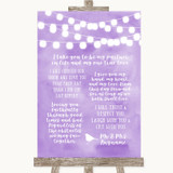 Lilac Watercolour Lights Romantic Vows Customised Wedding Sign