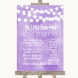 Lilac Watercolour Lights Rules Of The Dance Floor Customised Wedding Sign