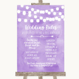 Lilac Watercolour Lights Rules Of The Wedding Customised Wedding Sign
