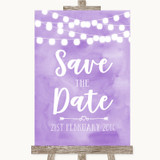 Lilac Watercolour Lights Save The Date Customised Wedding Sign