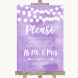 Lilac Watercolour Lights Share Your Wishes Customised Wedding Sign