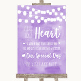 Lilac Watercolour Lights Sign a Heart Customised Wedding Sign