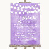 Lilac Watercolour Lights Signature Favourite Drinks Customised Wedding Sign