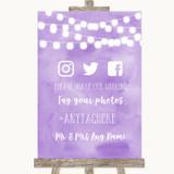 Lilac Watercolour Lights Social Media Hashtag Photos Customised Wedding Sign