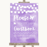 Lilac Watercolour Lights Take A Moment To Sign Our Guest Book Wedding Sign