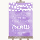 Lilac Watercolour Lights Take Some Confetti Customised Wedding Sign