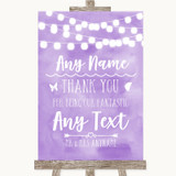 Lilac Watercolour Lights Thank You Bridesmaid Page Boy Best Man Wedding Sign