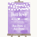 Lilac Watercolour Lights This Way Arrow Left Customised Wedding Sign