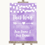 Lilac Watercolour Lights This Way Arrow Right Customised Wedding Sign