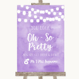 Lilac Watercolour Lights Toilet Get Out & Dance Customised Wedding Sign