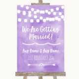 Lilac Watercolour Lights We Are Getting Married Customised Wedding Sign