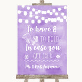 Lilac Watercolour Lights Wedding Blanket Scarf Customised Wedding Sign