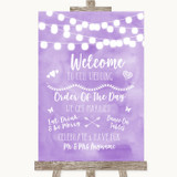 Lilac Watercolour Lights Welcome Order Of The Day Customised Wedding Sign