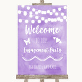 Lilac Watercolour Lights Welcome To Our Engagement Party Wedding Sign
