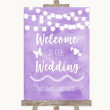 Lilac Watercolour Lights Welcome To Our Wedding Customised Wedding Sign