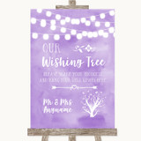 Lilac Watercolour Lights Wishing Tree Customised Wedding Sign