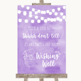 Lilac Watercolour Lights Wishing Well Message Customised Wedding Sign