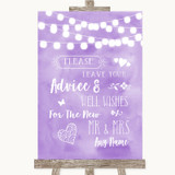 Lilac Watercolour Lights Guestbook Advice & Wishes Mr & Mrs Wedding Sign