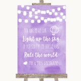 Lilac Watercolour Lights Light Up The Sky Rule The World Wedding Sign