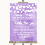 Lilac Watercolour Lights Photo Guestbook Friends & Family Wedding Sign