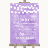 Lilac Watercolour Lights When I Tell You I Love You Customised Wedding Sign