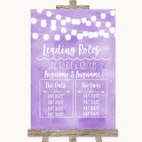 Lilac Watercolour Lights Who's Who Leading Roles Customised Wedding Sign