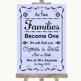Lilac As Families Become One Seating Plan Customised Wedding Sign