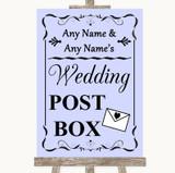Lilac Card Post Box Customised Wedding Sign