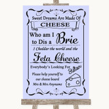Lilac Cheese Board Song Customised Wedding Sign