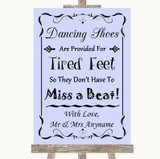 Lilac Dancing Shoes Flip-Flop Tired Feet Customised Wedding Sign