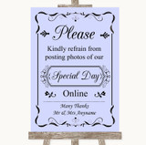 Lilac Don't Post Photos Online Social Media Customised Wedding Sign