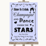 Lilac Drink Champagne Dance Stars Customised Wedding Sign