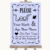 Lilac Fingerprint Tree Instructions Customised Wedding Sign