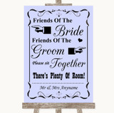 Lilac Friends Of The Bride Groom Seating Customised Wedding Sign