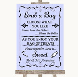 Lilac Grab A Bag Candy Buffet Cart Sweets Customised Wedding Sign