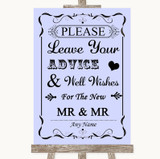 Lilac Guestbook Advice & Wishes Gay Customised Wedding Sign