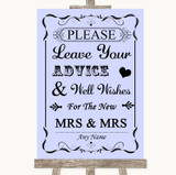Lilac Guestbook Advice & Wishes Lesbian Customised Wedding Sign