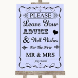 Lilac Guestbook Advice & Wishes Mr & Mrs Customised Wedding Sign