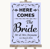 Lilac Here Comes Bride Aisle Sign Customised Wedding Sign