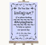 Lilac Instagram Photo Sharing Customised Wedding Sign