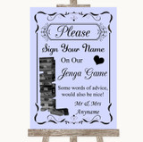 Lilac Jenga Guest Book Customised Wedding Sign